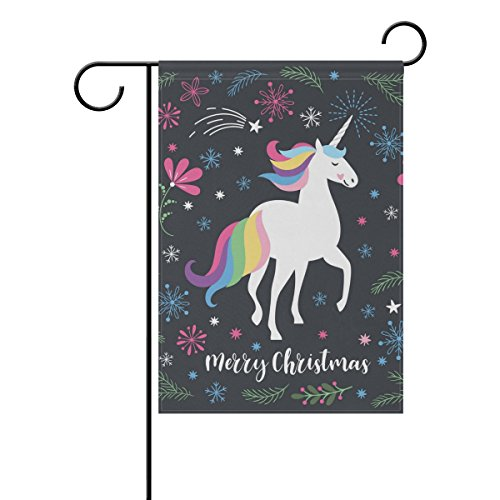 - U LIFE Merry Christmas Unicorn Floral Flower Garden Yard Flag Banner for Outside House Flower Pot Double Side Print 12 x 18 Inch