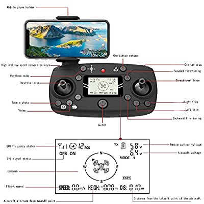 WANGKM 4k Hd Drone GPS Aerial Photography Brushless 5g Picture Transmission Intelligent Following Four-axis Aircraft Folding Remote Control Aircraft