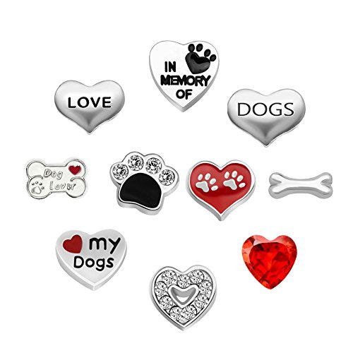 Third Time Charm Cute Dog Charms For Glass Living Memory Floating Lockets Necklace & (Dog Theme Charm Bracelet)