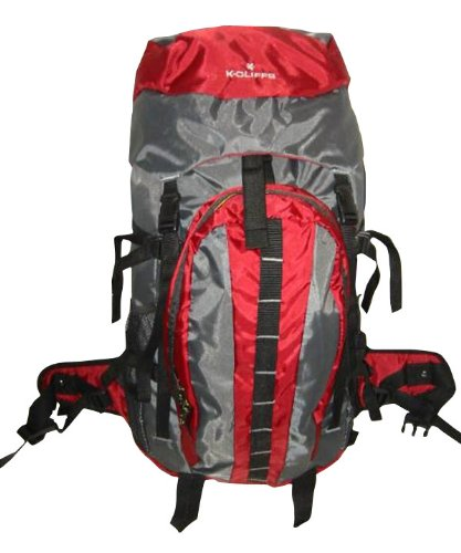 3200 Cubic Inch K-cliffs Moderate Hiker Internal Frame Backpack, Maroon/grey, Outdoor Stuffs