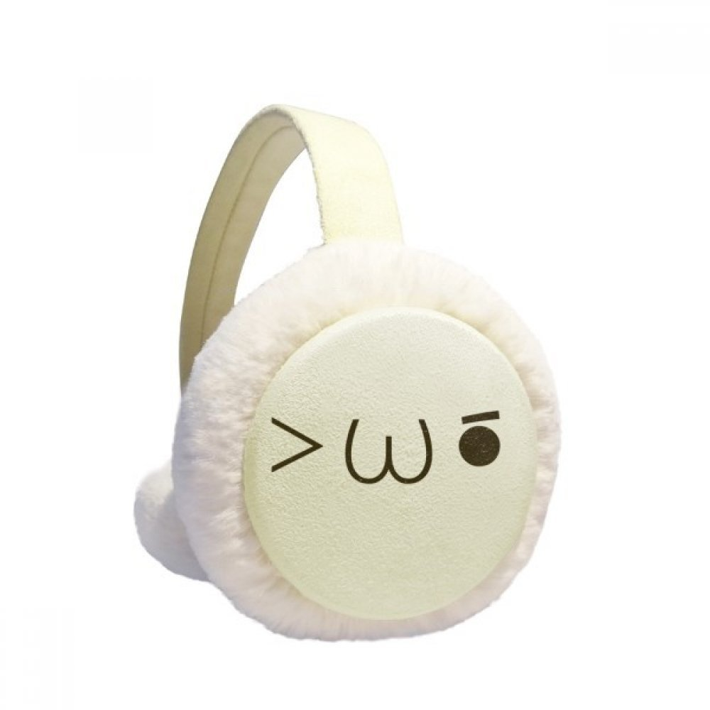 Lovely Kaomoji Twinkle Expression Winter Earmuffs Ear Warmers Faux Fur Foldable Plush Outdoor Gift