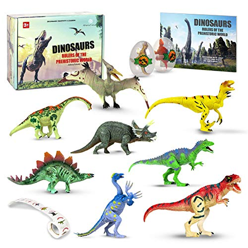 Dinosaur Toys [16 Items] For Boys Girls Of All Ages - Perfect Gift - Jurassic Age Park with T Rex, Raptor, Egg, Book, Stickers