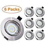 Tomshine Led Recessed Ceiling Lights 5W Bathroom Spotlight Warm White 3000K 500LM 240V IP23 Downlights for Bathroom Kitchen Ceiling, 6 Pack GU10 Bulbs Include