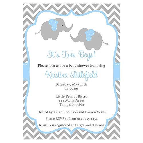 Elephant Twin Baby Shower Invitations Chevron Stripes Twins Boys Blue Grey Gray It's a Boy Little Peanut Polka Dots Invites Customized Personalized Printed (10 Count)