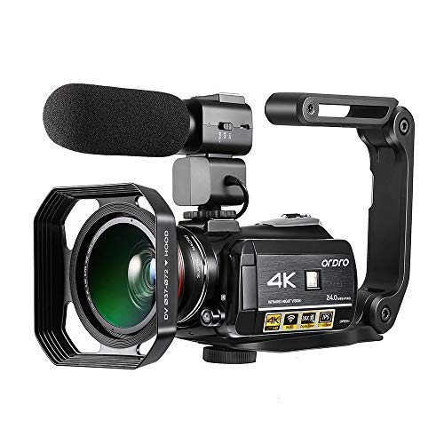 4K Camcorder, ORDRO AC3 Ultra HD Video Camera 1080P 60FPS Wi