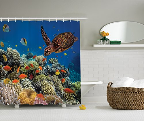 Colorful Fishes and Old Turtle Coral Reefs Dahab Red Egyptian Sea Picture, Polyester Fabric Bathroom Shower Curtain Set, Blue Orange Yellow