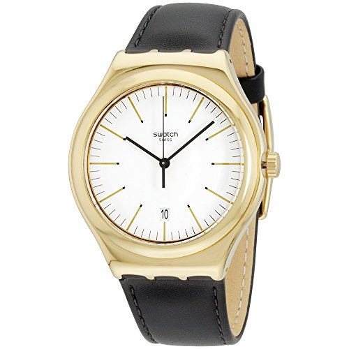 Swatch Men's EDGY TIME Irony Big Classic White Dial Black Leather Strap YWG404 Watch