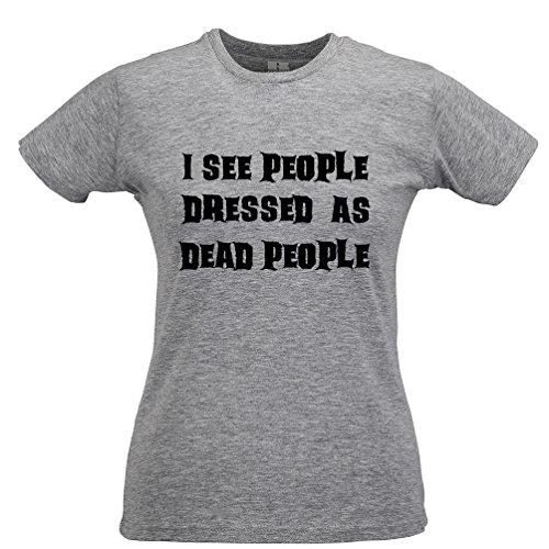 Vedo Gente vestita da Costume di Halloween Morto Persone Divertente Pauroso T-Shirt da Donna