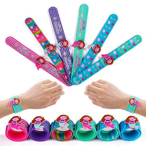 FROG SAC 6 Mermaid Slap Bracelets for Kids, Girls and Women - Girls Mermaid Theme Birthday Party Favors and Supplies - Mermaid Charm Silicone Snap Bracelet Set - Holiday Stuffers, Goodie Bag Fillers