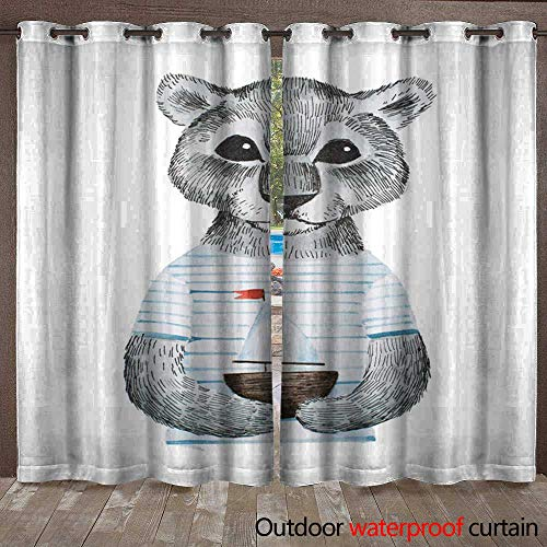 BlountDecor Porch Curtains Full-face Portrait of Cute Panther Baby Wearing Striped t-Shirt Holding a Toy Ship Hand-Drawn with Pencil and Watercolors Waterproof CurtainW108 x ()