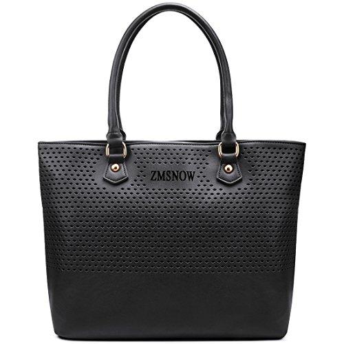 Black Purse, ZMSnow Unique Cutouts Vegan Leather Large Shoulder Handbags for Women (1.Black)