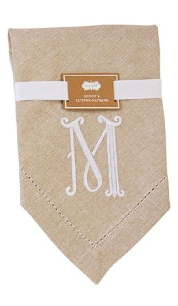 Mud Pie 4424000M Initial M Embroidered Cotton Napkins , Oatmeal, Set of 4
