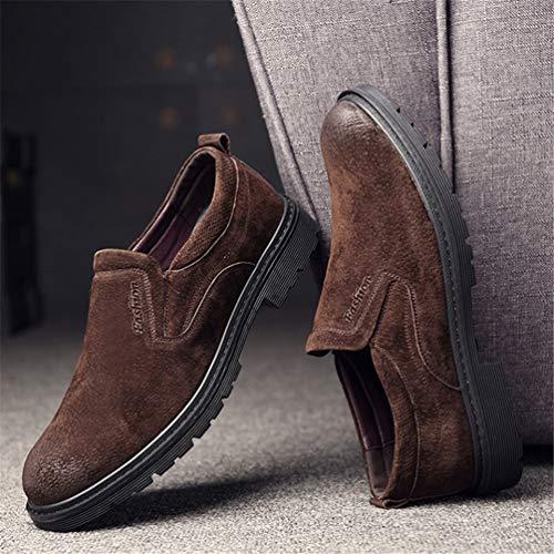 Uomini Round Tacco Toe Affari Suola degli Pattini al di Block Aderente Rilassato Shoes Resistente Gomma attrito Ammortizzatore Marrone in Inglesi Xq1tFwF