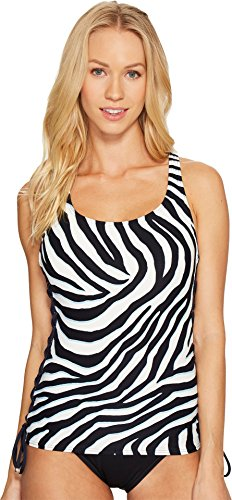 Michael Michael Kors Women's Quincy Zebra Lace-Up Tankini New Navy Swimsuit Top (Michael Michael Kors Studded Bandeau Tankini Top)