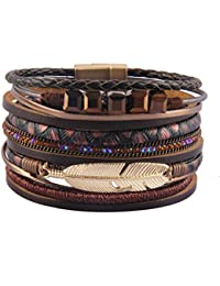 Womens Leather Cuff Bracelets Feather Wrap Bracelet Gorgeous Crystal Bangle Handmade Jewelry Bohemian Gift for Teens Girls, Mother, Sister, Daughter