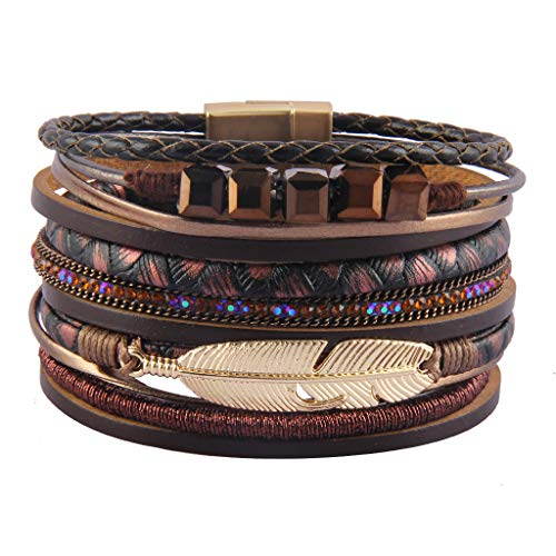 Jenia Womens Leather Cuff Bracelets Feather Wrap Bracelet Gorgeous Crystal Bangle Handmade Jewelry Bohemian Gift for Teens Girls, Mother, Sister, Daughter