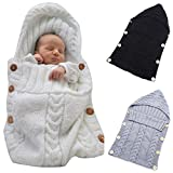 sleeping bag - Colorful Newborn Baby Wrap Swaddle Blanket, Oenbopo Baby Kids Toddler Wool Knit Blanket Swaddle Sleeping Bag Sleep Sack Stroller Wrap for 0-12 Month Baby (White)