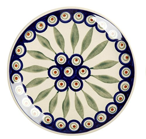 polish-pottery-peacock-feathers-handmade-salad-plate-7-inch