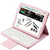 Eoso Keyboard Case for New 2018 iPad, 2017 iPad, iPad Pro 9.7, iPad Air 1 and 2 Folding PU Leather Folio Cover with Removable Keyboard(Pink)
