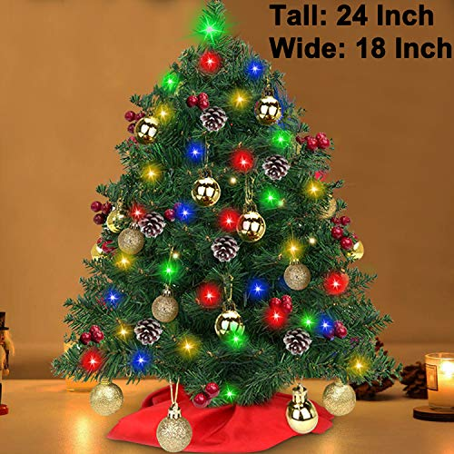Tabletop Christmas Tree Decoration - 24 Inch Artificial Mini Xmas Pine Tree with 50 LED String Lights 5 Pine Cones 30 Red Berries Small Prelit Fir Christmas Tree for Outdoor Indoor Home Holiday Decor (Decorated Trees Xmas)