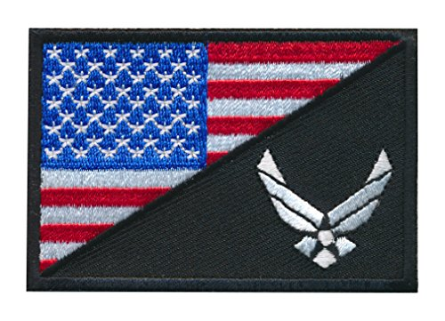 (Patch Squad Men's Tactical USA Flag / USA Air force Logo Embroidered Patch (Black/RWB))