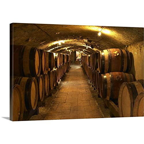 """Per Karlsson Premium Thick-Wrap Canvas Wall Art Print Entitled Wooden Barrels with Aging Wine in The Cellar of Guigal in Ampuis, Cote Rotie, France 18""""x12"""""""
