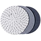 100% Cotton Thread Weave Pot Holders, Hot Pads, Pot Holders, Spoon Rest, Jar Opener & Coasters, For Cooking and Baking, Diameter 7 Inches, Round, Set of 3, Grey Set