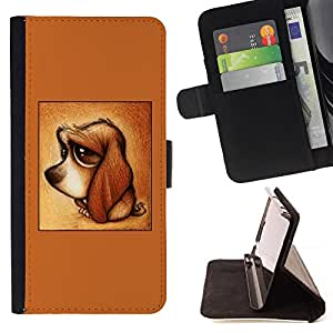 - Queen Pattern FOR HTC One M8 /La identificaci????n del cr????dito ranuras para tarjetas tir????n de la caja Cartera de cuero cubie - cute puppy dog dachshund brown sad -