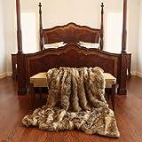 "Best Home Fashion Amber Fox Faux Fur Lounge Throw Blanket 58"" x 60"" - TR"