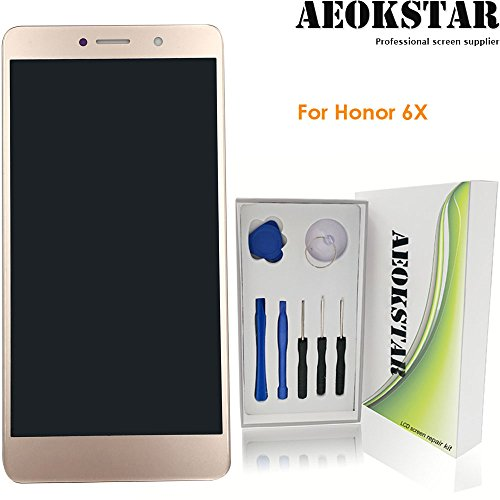 Aeokstar For Huawei honor 6X BLN-L21 BLN-AL10 BLN-TL00 BLN-TL10 BLN-AL20 BLN-L22 LCD Touch Screen Digitizer Glass Assembly Replacement & Full Repair Tools Kit (GOLDEN+ADJUST BRIGHTNESS) from AEOKSTAR