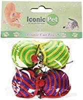 Iconic Pet Nylon Rope Fun Ball, 4 Pack, Assorted