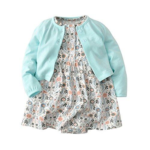 (Baby Girls Dress Set Long Sleeve Coat + Floral Toddler Romper Dresses 2Pcs Baby Girl Set Outfit Clothes (Sun Flower, 6 Months))