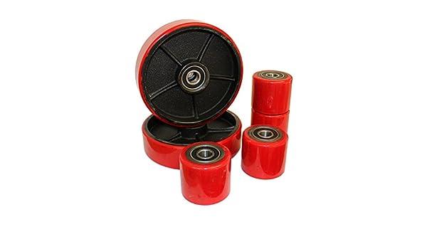 Productos Letter Juego de ruedas ruedas para transpaleta Tenedor Transpaleta PU Goma Dura Tandem con rodamiento de bolas: Amazon.es: Bricolaje y ...