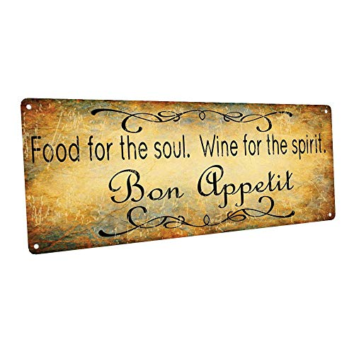 (Bon Appetit Food for the Soul Wine for the Spirit Metal Sign, Bar Decor, Country Decor, Kitchen Decor)