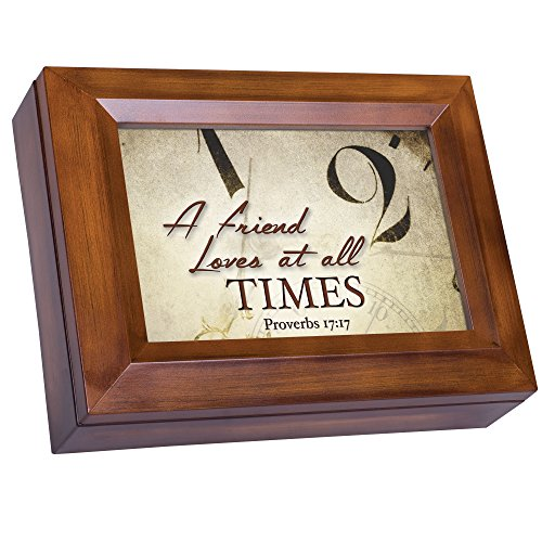 A Friend Loves at All Times Proverbs 17:17 Wood Finish Jewelry Music Box Plays You are My Sunshine
