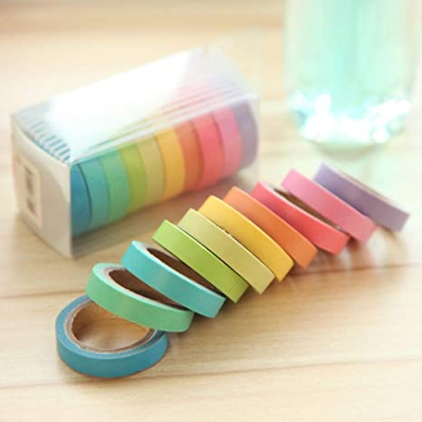 10pcs//lot Rainbow Solid Color Paper DIY Decorative Washi Tape Notebook New Style