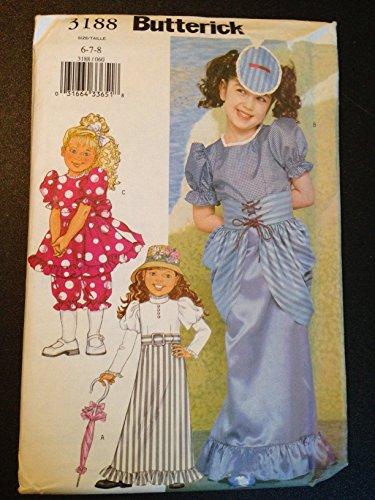 Butterick 3188 Sewing Pattern, Children's/Girls Costume, Size 6-7-8, Eduardan, Gibson (Gibson Girl Costume Pattern)