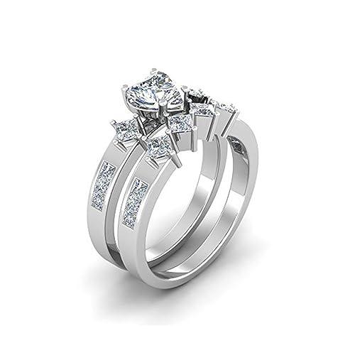 Mejor compromiso anillos de boda en 3,30 ct blanco circonitas cúbicas forma de corazón