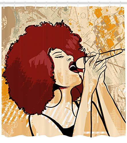 - Lunarable Afro Shower Curtain, Popular Singer Karaoke Style Microphone Performance American Woman, Cloth Fabric Bathroom Decor Set with Hooks, 70