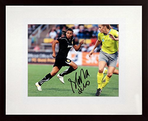 Brazil Soccer Superstar Marta Autographed 8x10 Photograph (SGA Value Series) Framed