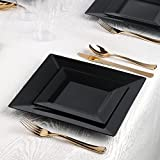 Kaya Collection - Square Black Disposable Plastic Dinnerware Party Package - 60 Person Package - Includes Dinner Plates, Salad/Dessert Plates, Gold Cutlery and Tumblers