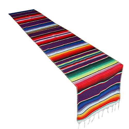 CRJHNS Table Runner Mexican Handwoven Cotton Serape for Party Wedding and Home Decorations,14x84 Inch (14x84) -