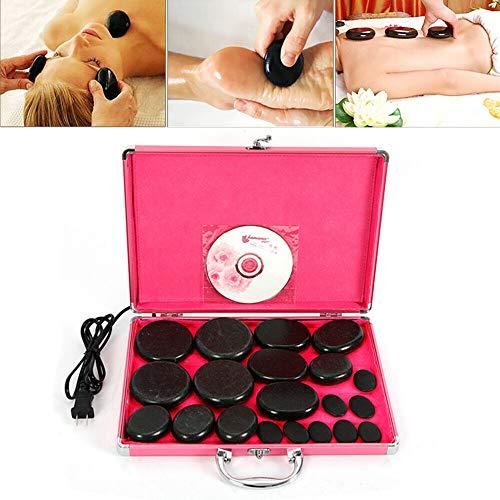 Hot Massage Stones Volcanic Stones Kit 20Pcs Rock SPA Oiled Massager Machine W/Heater Box for Body Massage