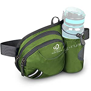 WATERFLY Hiking Waist Bag Can Hold iPhone6 Plus 5.9 inch Gear with Water Bottle Holder/Funny Running Belt Bum Bag for Ridding Dog Walking (Army Green)