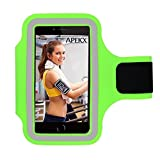 APEKX Cellphone Sports Armband: Super Comfort Fit, Ultra Slim, Soft Lycra, Running Water Resistant for iPhone 6, 6s(4.7-Inch), Galaxy S3/S4, iPhone SE, 5/5C/5S (Neon Green)