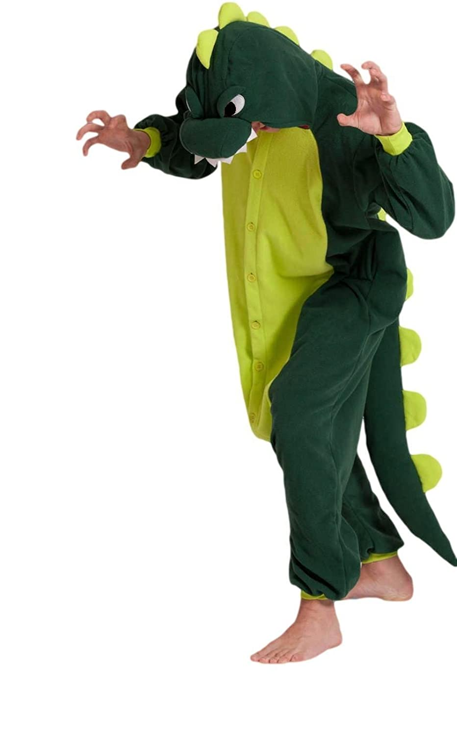 OFFICIAL CLUBCORSETS ANIMAL PYJAMA ONESIE- FLUFFY FUN! IDEAL UNISEX XMAS PRESSIE ALL SIZES S, M, L, XL (L 170-180 CM ( HEIGHT 5'6~5'10 ), GREEN DINOSAUR)