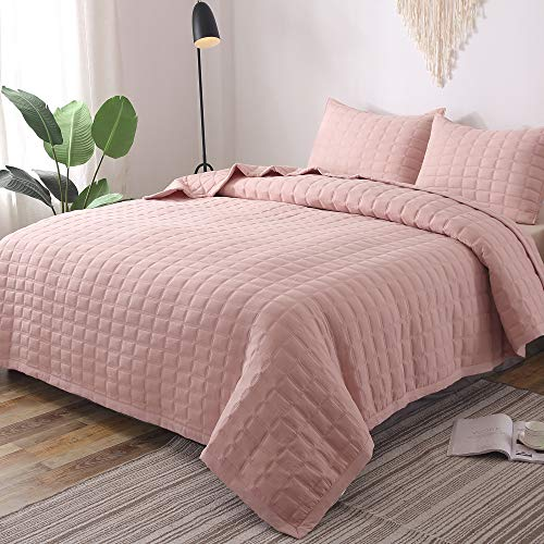 (GOONE Super Soft Lightweight Bedding Quilt Sets,Filling with Skin Friendly Breathable Hydrophillic Down Alternative, Multipurpose As Bedspread Thin Comforter with 2 Shams Solid Color)