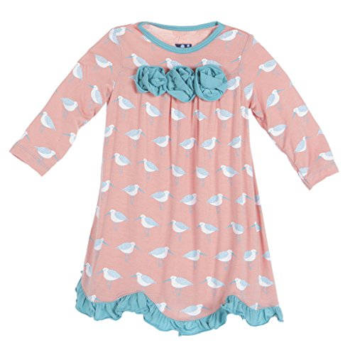(KicKee Pants Little Girls Long Sleeve Flower Dress, Blush Sandpiper, 2T)