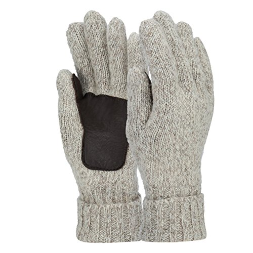 - Sudawave Men's and Women's Knitted Wool Gloves with Leather Patch on Palm Micro Fleece Lined Warm Winter Gloves (Beige)