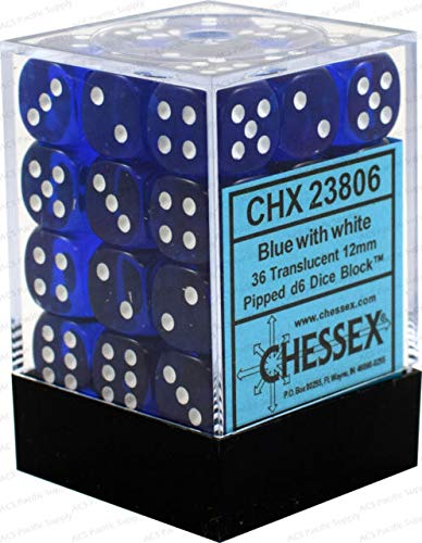 Chessex Dice d6 Sets: Blue with White Translucent - 12mm Six Sided Die (36) Block of Dice  (36 Dice Set)